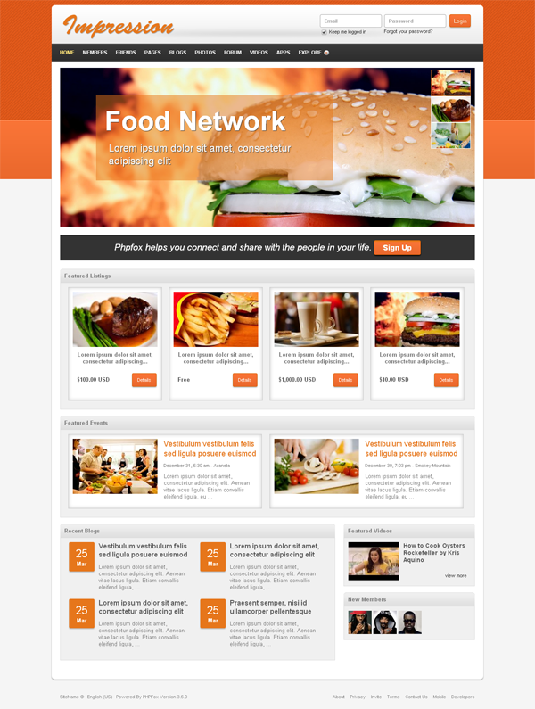 Food Network Design