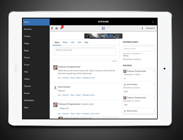 iPad-friendly Social Network Design