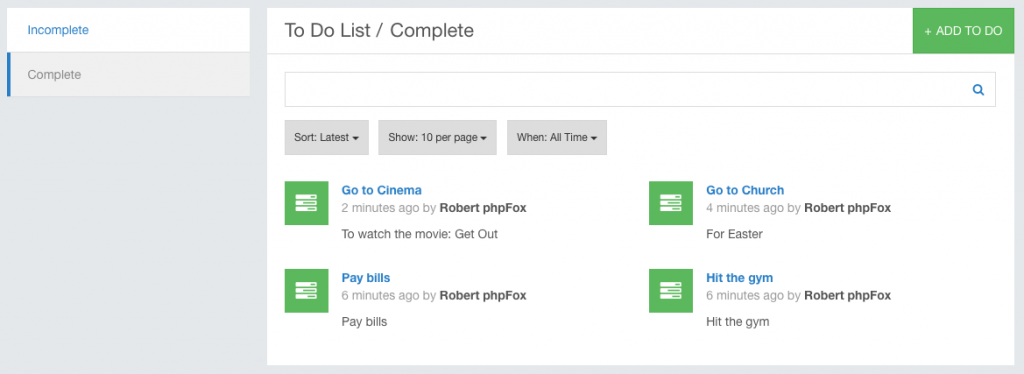 To Do List Sample app phpFox phpFox – To Do List Samples
